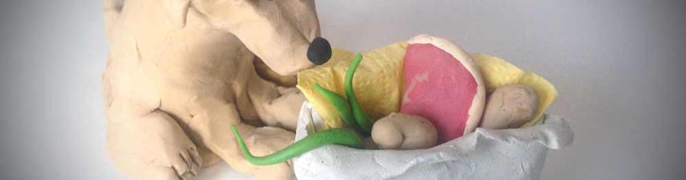 Knetfigur Hund mit geknetetem Korb, Gemüse und Fleisch